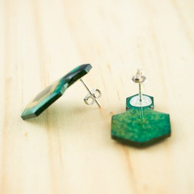 Boucles d′oreilles en Calebasse séchée et argent 925 Cari-Geo-Hex faites main | Bleu - Aigue-marine - Beige