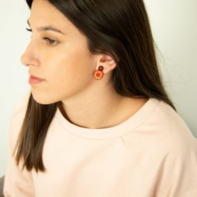 Boucles d′oreilles en Calebasse séchée et argent 925 Cari-Geo-Hex faites main | Rouge - Beige