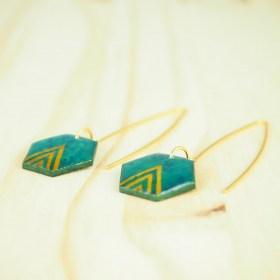 Boucles d'oreilles en Calebasse séchée Cari-Hex Fle faites main |  Turquoise - Moutarde