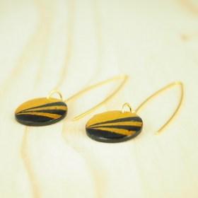 Boucles d′oreilles en Calebasse séchée Cari Rond Pav faites main plaquées or 24k |  Moutarde - Noires