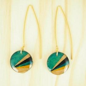 Boucles d'oreilles en Calebasse séchée Cari-Rond Pav faites main |  Turquoise - Moutarde - Noires