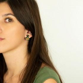 Boucles d′oreilles en Calebasse séchée et argent 925 Cari-Geo-Los faites main | Bleu - Vert - Saumon