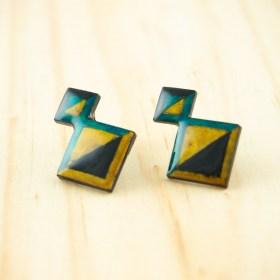 Boucles d′oreilles en Calebasse séchée et argent 925 Cari-Geo-Los faites main | Noir - Jaune - Turquoise