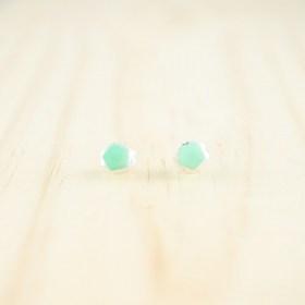 Boucles d′oreilles puces en ivoire végétal et argent Coletoile faites main | Menthe