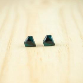 Boucles d′oreilles puces en Calebasse séchée faites main Cari-Dia | Pic :  Noir - Turquoise