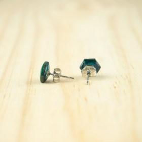 Boucles d′oreilles puces en Calebasse séchée faites main Cari-Hex | Pic : Turquoise - Moutarde