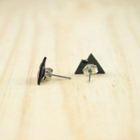 Boucles d′oreilles puces montagnes en Calebasse séchée faites main | Noir -Rouge
