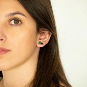 Boucles d′oreilles puces montagnes en Calebasse séchée faites main | Vert - Bleu