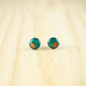 Boucles d′oreilles puces 8mm en Calebasse séchée faites main rondes | Point : Turquoise - Saumon
