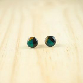 Boucles d′oreilles puces 8mm en Calebasse séchée faites main rondes | Inter : Turquoise - Noir - Jaune