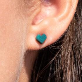 Boucles d'oreilles puces en ivoire végétal Colicœur faites main | Turquoise