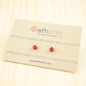 Boucles d′oreilles puces en ivoire végétal et argent 925 Coletoile faites main | Rouges