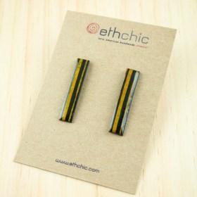 Boucles d′oreilles en Calebasse séchée et argent 925 Cari-Rec faites main rectangulaires | Lignes : Noir - Jaune
