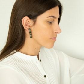 Boucles d′oreilles en Calebasse séchée et argent 925 Cari-Rec Los faites main rectangulaires | Losanges : Bleues