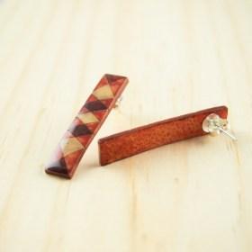 Boucles d′oreilles en Calebasse séchée et argent 925 Cari-Rec Los faites main rectangulaires | Losanges : Rouge - Beige