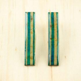 Boucles d′oreilles en Calebasse séchée et argent 925 Cari-Rec faites main rectangulaires | Lignes : Turquoise - Beige