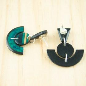 Boucles d′oreilles en Calebasse séchée et argent 925 Cari-Trio-Pun faites main |  Bleu - Beige- Turquoise