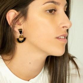 Boucles d′oreilles en Calebasse séchée et argent 925 Cari-Trio-Pun faites main |  Noir - Beige- Moutarde