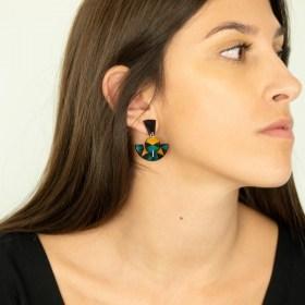 Boucles d′oreilles en Calebasse séchée et argent 925 Cari-Trio-Pun faites main | Canard - Noir - Moutarde