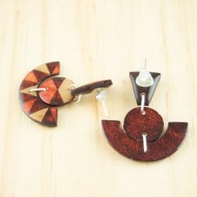 Boucles d′oreilles en Calebasse séchée et argent 925 Cari-Trio-Pun faites main |  Rouge - Beige- Corail