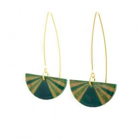 Boucles d'oreilles en Calebasse séchée Cari-Demi-Pav faites main | Turquoise - Vert - Beige