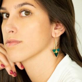 Boucles d'oreilles en Calebasse séchée Cari-Tri-Ref faites main | Rouge - Beige
