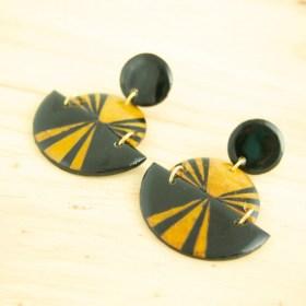 Boucles d′oreilles en Calebasse séchée et argent 925 Cari-Trio-Pav faites main | Noir - Jaune - Beige