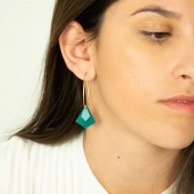 Boucles d'oreilles Créoles en ivoire végétal Aro Los faites main | Turquoise - Bleu clair (Photo : Créole Argent 925 2.7cm)