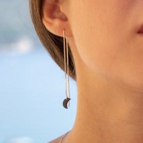 Boucles d'oreilles chaîne longue traversante argent 925