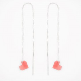 Boucles d'oreilles chaîne traversante Coeur en ivoire végétal et argent 925 | Rose