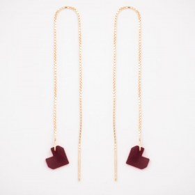 Boucles d'oreilles chaîne traversante Coeur en ivoire végétal et argent 925 plaqué or 24k | Rouge