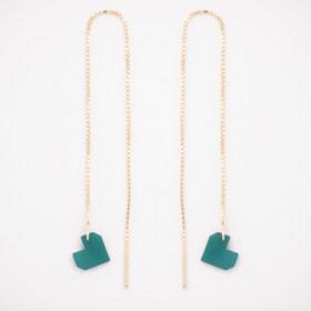 Boucles d'oreilles chaîne traversante Coeur en ivoire végétal et argent 925 plaqué or 24k | Turquoise
