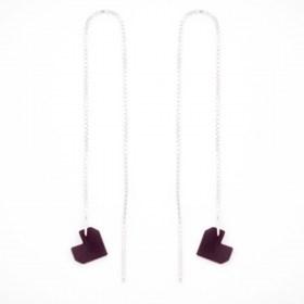Boucles d'oreilles chaîne traversante Coeur en ivoire végétal et argent 925 | Violet
