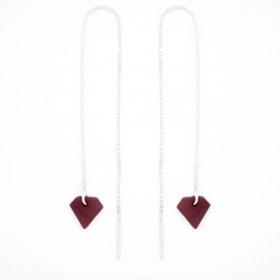 Boucles d'oreilles chaîne traversante Diamant en ivoire végétal et argent 925 | Bordeaux