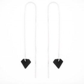 Boucles d'oreilles chaîne traversante Diamant en ivoire végétal et argent 925 | Noir