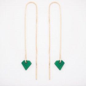 Boucles d'oreilles chaîne traversante Diamant en ivoire végétal et argent 925 plaqué or 24k | Vert