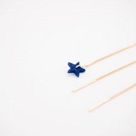 Boucles d'oreilles chaîne traversante Etoile en ivoire végétal et argent 925 plaqué or 24k | Bleu Foncé