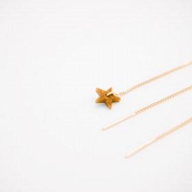 Boucles d'oreilles chaîne traversante Etoile en ivoire végétal et argent 925 plaqué or 24k | Moutarde