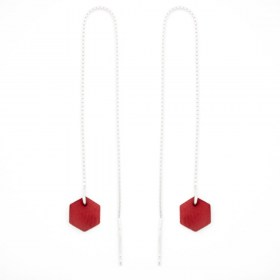Boucles d'oreilles chaîne traversante Hexagone en ivoire végétal et argent 925 | Rouge