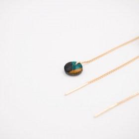 Boucles d'oreilles chaîne traversante Inter en Calebasse séchée et argent 925 plaqué or 24k | Turquoise -Noir -Moutarde