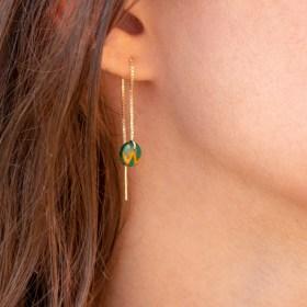Boucles d'oreilles chaîne courte traversante argent 925 calebasse séchée