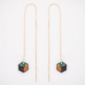 Boucles d'oreilles chaîne traversante Cube en Calebasse séchée et argent 925 plaqué or 24k | Turquoise -Noir -Moutarde