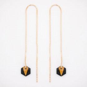 Boucles d'oreilles chaîne traversante Pic en Calebasse séchée et argent 925 plaqué or 24k | Noir - Moutarde