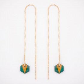 Boucles d'oreilles chaîne traversante Pic en Calebasse séchée et argent 925 plaqué or 24k | Turquoise - Moutarde