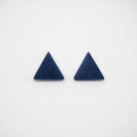 Boucles d'oreilles en ivoire végétal triangles Arpia faites main | Bleues marine
