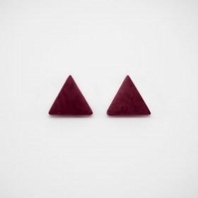 Boucles d′oreilles triangles en ivoire végétal ARPIA bordeaux faites main
