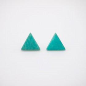 Boucles d'oreilles en ivoire végétal triangles Arpia faites main | Menthe