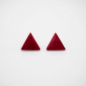 Boucles d'oreilles en ivoire végétal triangles Arpia faites main | Rouges
