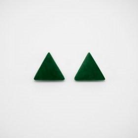 Boucles d′oreilles en ivoire végétal triangles Arpia faites main | Vertes