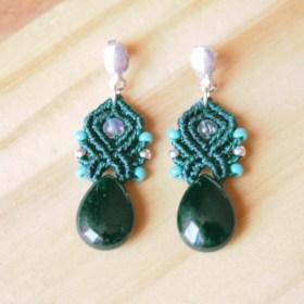 Boucles d'oreilles Anadito Vert Agate faits main